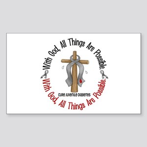 With God Cross Juvenile Diabetes Sticker (Rectangl