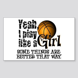 Girls Basketball Quotes Rectangle Stickers - CafePress