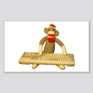 Code Sock Monkey Sticker (Rect.)