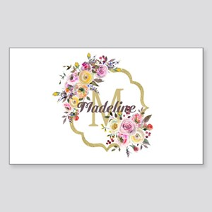Watercolor Floral Gold Monogram Sticker