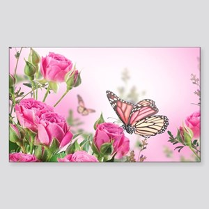 Butterfly Flowers Sticker (Rectangle)