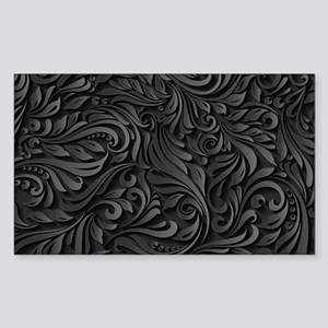 Black Flourish Sticker (Rectangle)
