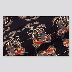 koi fish japanese textile Sticker