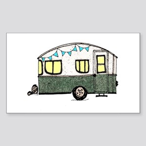 Vintage Camper Trailer with flags Sticker (Rectang
