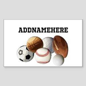 Sports Balls, Custom Name Sticker (Rectangle)
