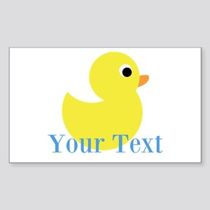 Personalizable Yellow Duck Blue Sticker