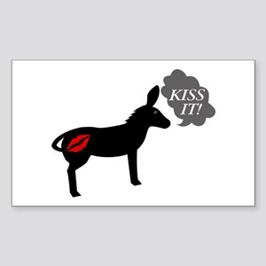 Donkey Says Kiss It With Kissy Sticker (Rectangle)