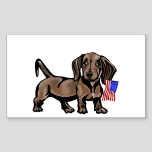 4th of July Dachshund Rectangle Sticker