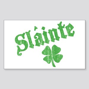 Slainte with Four Leaf Clover Sticker (Rectangular