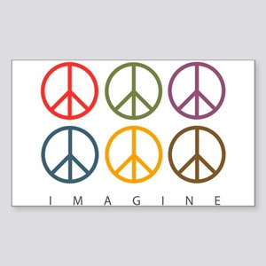 Imagine - Six Signs of Peace Rectangle Sticker