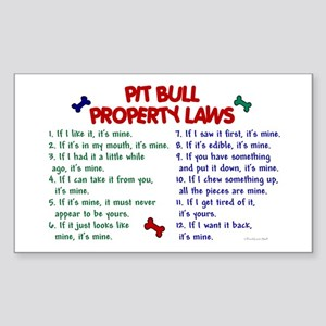 Pit Bull Property Laws Rectangle Sticker