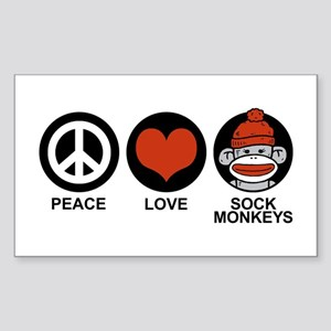 Peace Love Sock Monkeys Rectangle Sticker