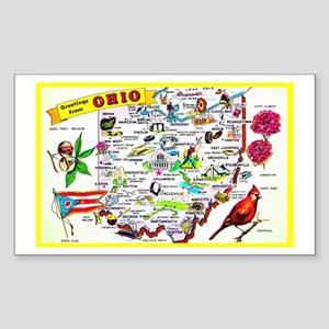 Ohio Map Greetings Sticker (Rectangle)