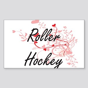 Roller Hockey Artistic Design with Hearts Sticker