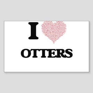 I love Otters (Heart Made from Words) Sticker