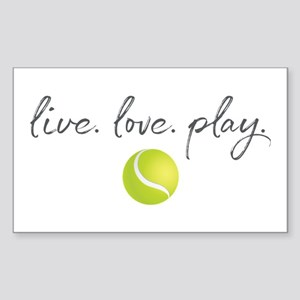 Live Love Play Tennis Sticker (Rectangle)
