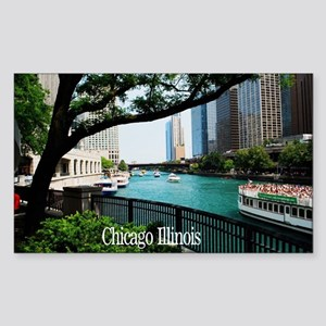 Chicago River Sticker (Rectangle)