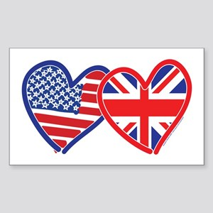 American Flag/Union Jack Hear Sticker (Rectangle)