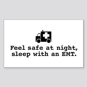 Feel Safe Sleep with EMT Rectangle Sticker