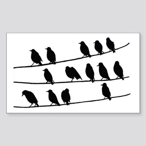 crows on the electric line Sticker (Rectangle)