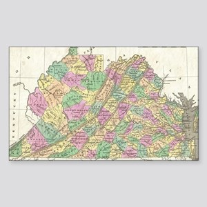 Vintage Map of Virginia (1827) Sticker (Rectangle)