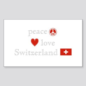 Peace Love and Switzerland Sticker (Rectangle)