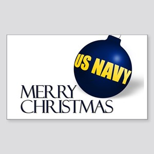 Merry US Navy Christmas Rectangle Sticker