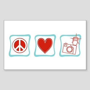 Peace, Love and Photographers Sticker (Rectangle)