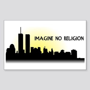 Imagine No Religion Twin Towers Sticker (Rectangle