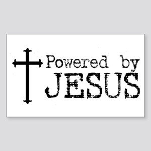 Powered by Jesus with Cross Rectangle Sticker