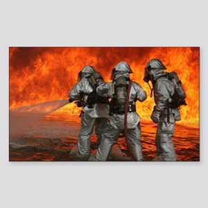 3 Firefighters fighting a fire Sticker (Rectangle)
