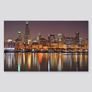 Chicago Reflected Sticker (Rectangle)