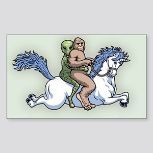 Bigfoot Alien Unicorn Sticker (Rectangle)
