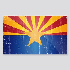 Arizona Flag Distressed Sticker (Rectangle)