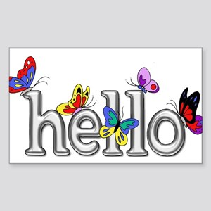 Bright Silver Hello with Colorful Butterfl Sticker