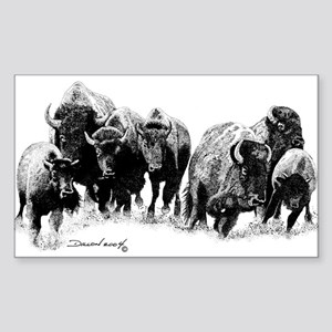 Buffalo Herd Rectangle Sticker