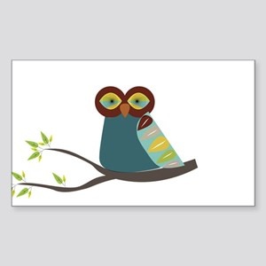 Mid Century Modern Owl Sticker (Rectangle)