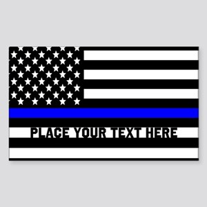 Thin Blue Line Flag Sticker (Rectangle)