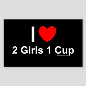 2 Girls 1 Cup Sticker (Rectangle)