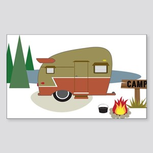 Camping Trailer Sticker (Rectangle)