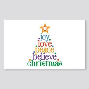 Joy Love Christmas Sticker (Rectangle)