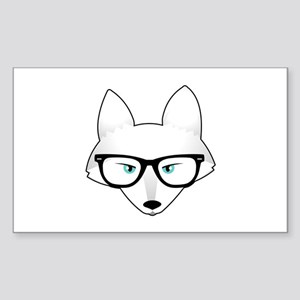 Cute Arctic Fox with Glasses Sticker (Rectangle)