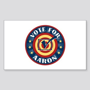 Vote for Aaron Personalized Rectangle Sticker