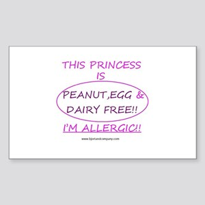 Peanut, Egg & Dairy Free Prin Sticker (Rectang