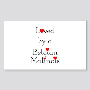 Loved by a Belgian Malinois Rectangle Sticker