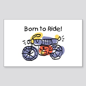 Child Art Born To Ride Rectangle Sticker