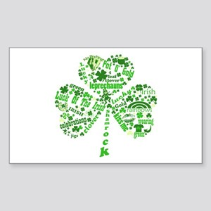 St Paddys Day Shamrock Sticker (Rectangle)