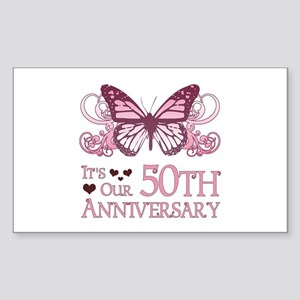 50th Wedding Aniversary (Butterfly) Sticker (Recta