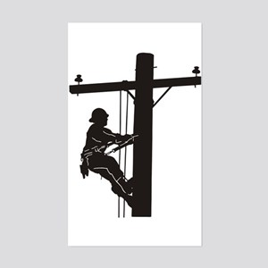 lineman silhouette 1_black Sticker (Rectangle)