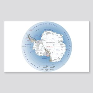 Map Antarctica Sticker (Rectangle)